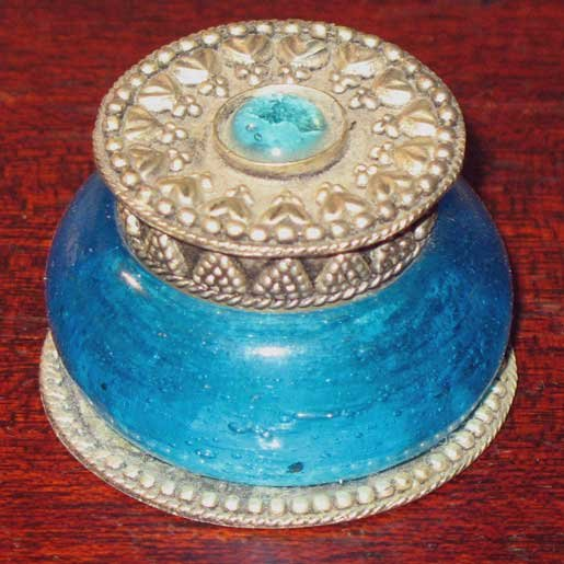 Vintage Blue Glass and Shiny Metal Small Jewelry Trinket Box