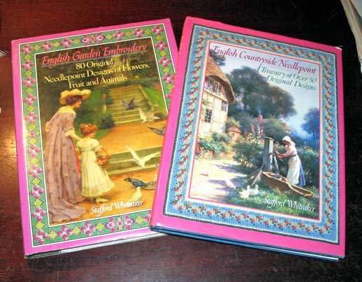 Set 2 Elegant Needlepoint Books By Staffard Whiteaker 1st Ed HC Florals Fruits
