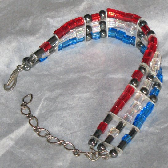 Red, white and blue artisan glass bead patriotic bracelet