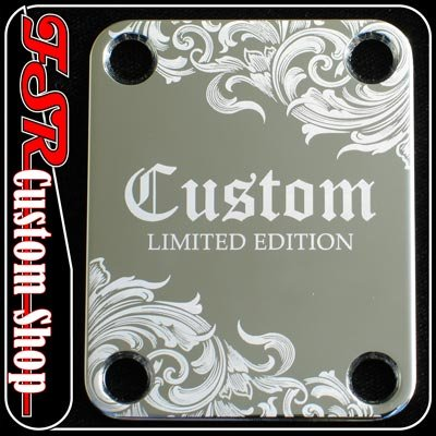 (C0026) CHROME ETCHED/ENGRAVED LIMITED GUITAR/BASS NECK PLATE