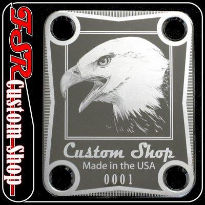 (C0010) CHROME EAGLE NECK PLATE fits squire tele/strat guitar