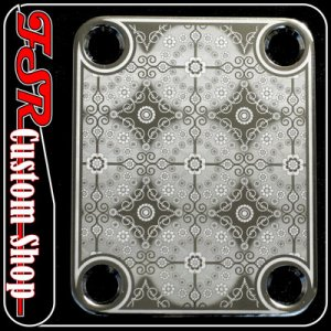 (C0013) CHROME CUSTOM ENGRAVED GUITAR/BASS STANDARD NECK PLATE
