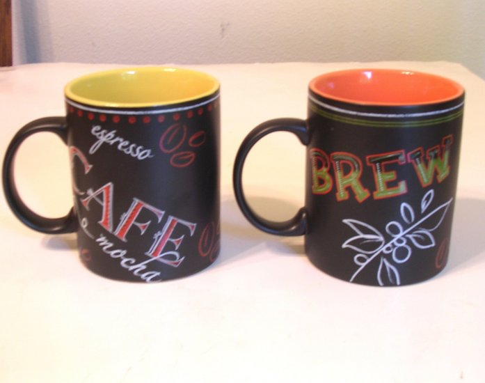 SOLD!!! Two Vintage Starbucks Coffee Mugs / Cafe Brew Design Dated 2002 SOLD!!!