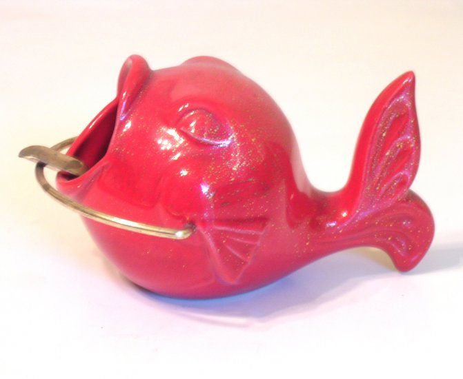 Vintage Red & Gold California Pottery Treasure Craft Fish Shaped Ashtray /