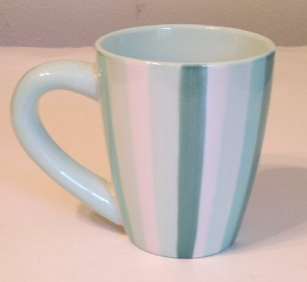 Vintage Starbucks Coffee Barista Mug / Green Striped Dated 2002
