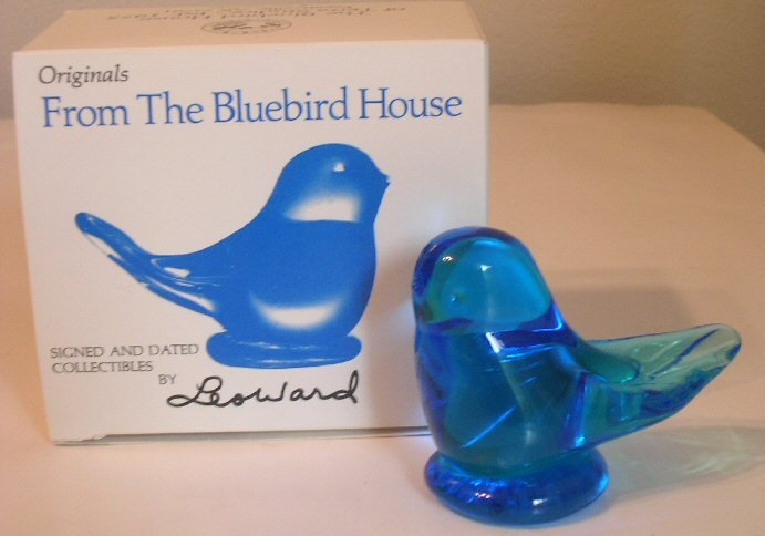 Vintage Art Glass Bluebird Of Happiness Signed Leo Ward / Signed Leo Ward Box MINT IN BOX