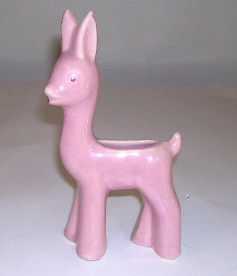 Vintage Pink Shawnee Pottery Standing Deer Planter /  Vase