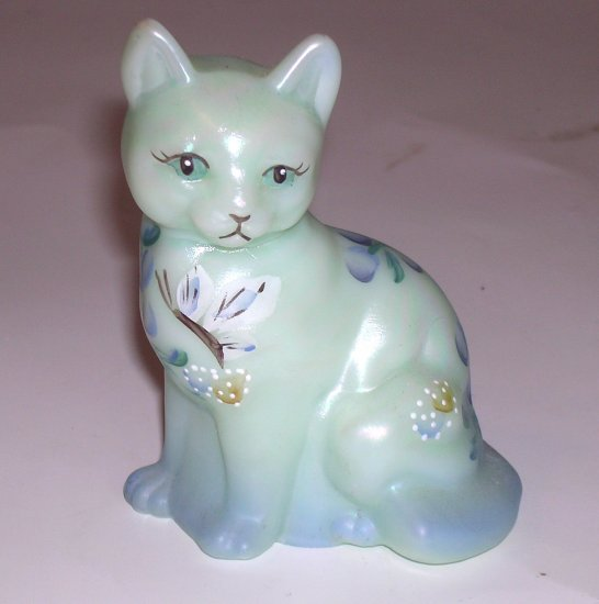 Sweet Fenton Glass Cat Figurine Hand Painted Artist Signed Sea Green Satin