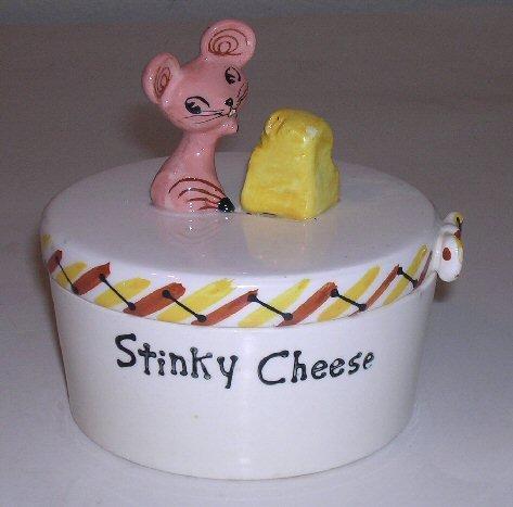 Vintage Holt Howard Merry Mouse Stinky Cheese Crock / Howard Holt Art Pottery