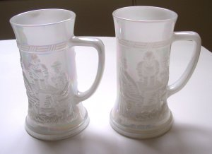 Two Federal Glass White Carnival Glass Beer Mug Beer Stein