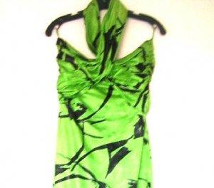 Jean Louis Scherrer Vintage Couture Dress / Green Black Halter Dress 1980