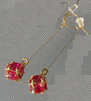 Faceted Ruby Quartz Dangle Earrings