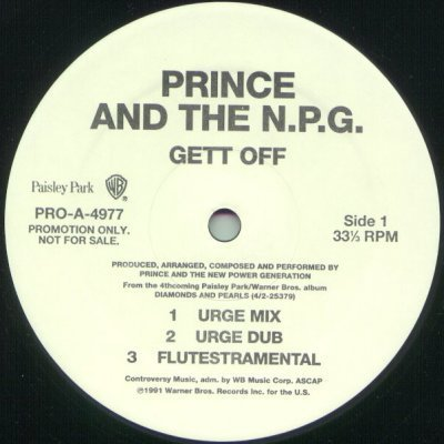 "Prince and The N.P.G. Gett Off Promo12"""" Singl"