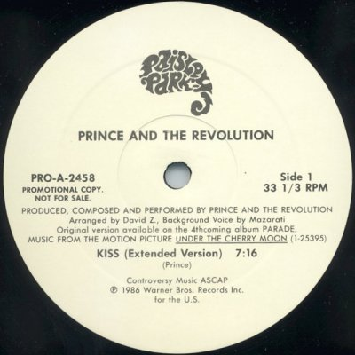 "Prince and The Revolution Kiss Promo12"""" Singl"