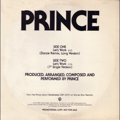 "Prince Let's Work Promo12"""" Single"
