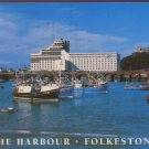 The Harbour and Hotel Burstin Folkstone Postcard / Salmon