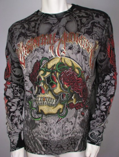 CHRISTIAN AUDIGIER RHINESTONE Skull & Roses Thermal T Shirt, M Medium