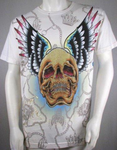 e66c58e7 Christian Audigier T Shirt Men New Cream Off White Rhinestone Skull ...