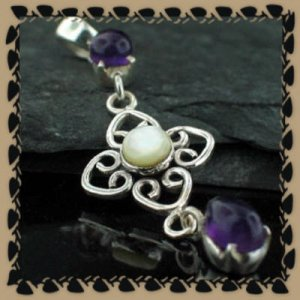 Vintage Style Amethyst and Mother of Pearl Pendant