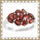 Beautiful Genuine Garnet Cluster Ring Sz 7