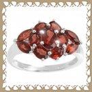 Beautiful Genuine Garnet Cluster Ring Sz 7