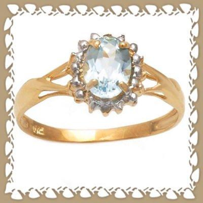 Lovely Genuine Sky Blue Topaz 10K Gold Ring Sz 6.75