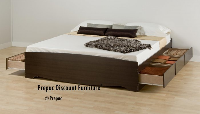 KING PLATFORM BED WITH 6 DRAWER STORAGE IN ESPRESSO  COLOR BY PREPAC