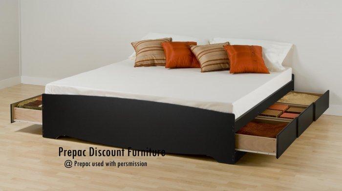 KING PLATFORM BED WITH 6 DRAWER STORAGE IN BLACK COLOR BY PREPAC
