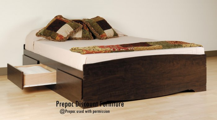 QUEEN PLATFORM BED WITH 6 DRAWER STORAGE IN ESPRESSO COLOR BY PREPAC