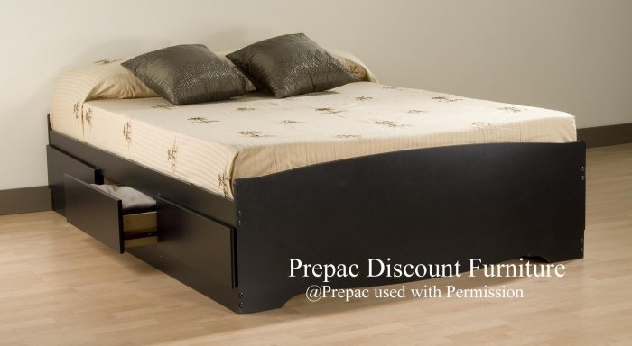 QUEEN PLATFORM BED WITH 6 DRAWER STORAGE IN BLACK COLOR PREPAC