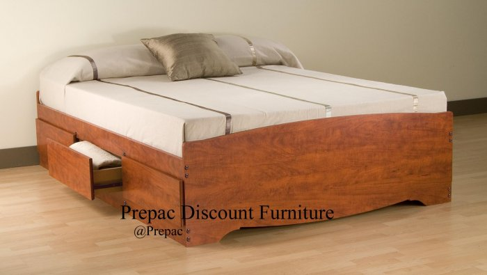 QUEEN PLATFORM BED WITH 6 DRAWER STORAGE IN CHERRY COLOR BY PREPAC