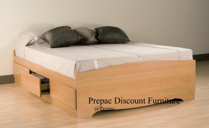 QUEEN PLATFORM BED WITH 6 DRAWER STORAGE IN MAPLE COLOR BY PREPAC