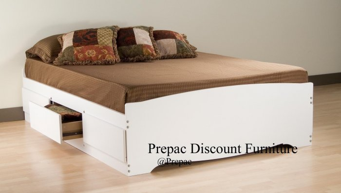 QUEEN PLATFORM BED WITH 6 DRAWER STORAGE IN WHITE COLOR PREPAC