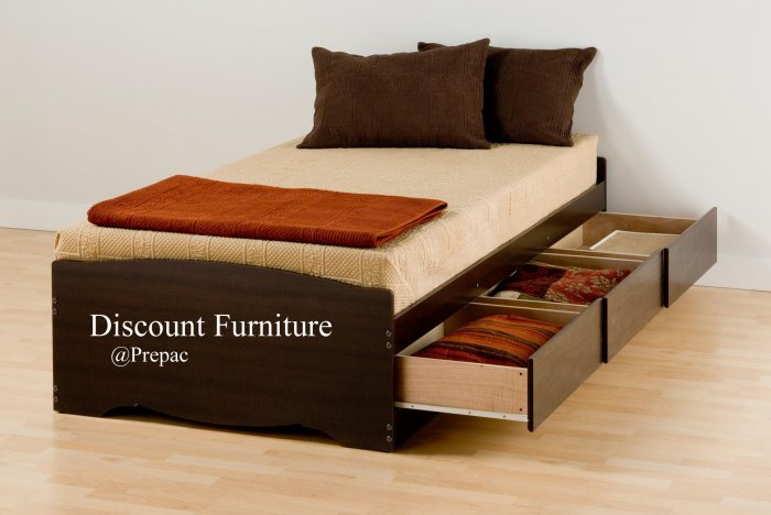 LONG TWIN PLATFORM BED WITH 3 DRAWER STORAGE IN ES[RESSO COLOR BY PREPAC