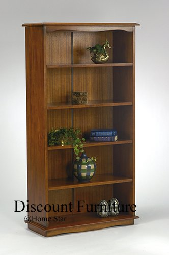 BURNISHED ANTIQUE CHERRY STAIN WOOD 5 TIER BOOKCASE BY HOME STAR