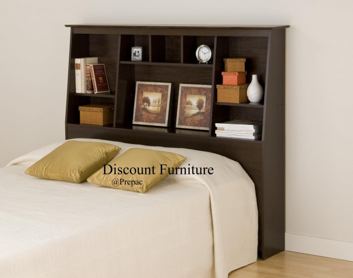 TALL/SLANT HEADBOARD FOR DOUBLE/QUEEN BED ESPRESSO COLOR PREPAC
