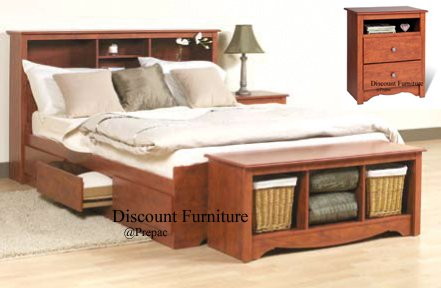 CHERRY QUEEN MATES BEDROOM SET- HDBOARD, BED, 2 NIGHTST, BENCH BY PREPAC