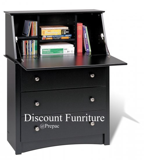 SECRETARY DESK BLACK COLOR BY PREPAC