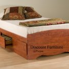 CHERRY TWIN PLATFORM BED WITH 3 DRAWER STORAGE