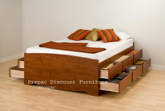 TALL CHERRY  FULL PLATFORM BED W/12 DRAWER STORAGE