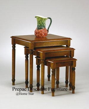 SOLID WOOD SET 3 NESTING TABLES BURNISHED CHERRY