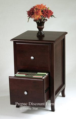 SOLID WOOD 2 DRAWER FILE CABINET IN A WINE FINISH MERLOT COLLECTION