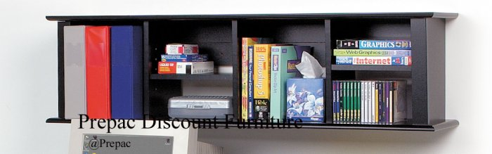 BLACK  WALL  HUTCH  FOR DESK/BOOKCASE/CHEST WALL MOUNTED