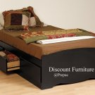 TALL BLACK TWIN PLATFORM BED W/6 DRAWER STORAGE