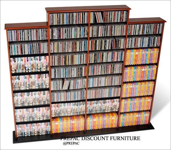 CHERRY  QUAD CD/DVD/VHS MEDIA STORAGE SHELVES RACK UNIT