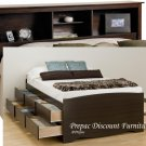 TALL QUEEN ESPRESSO MATES BEDROOM SET BOOKCASE HEADBOARD & BED