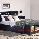 BLACK QUEEN BEDROOM SET  HEADBOARD, BED 2 NIGHTSTANDS TALL CHEST
