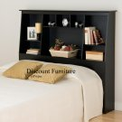 TALL FULL ESPRESSO MATES BEDROOM SET BOOKCASE HEADBOARD & BED