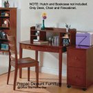 WALNUT SMALL OFFICE DESK FILE CABINET AND CHAIR