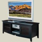 SOLID WOOD 60IN PLASMA TV CONSOLE EBONY STAIN W/STORAGE